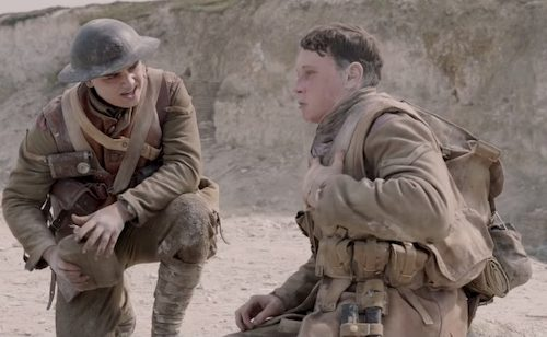 two soldiers talking