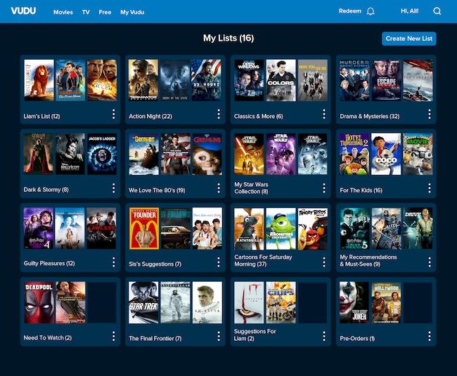 Movie lists desktop