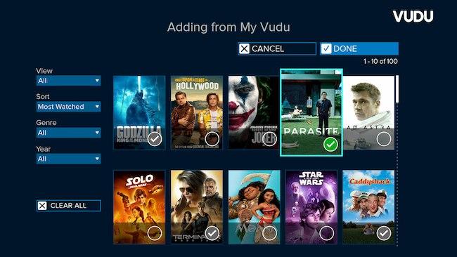 list vudu screen