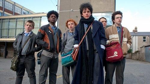 group of high school kids standing