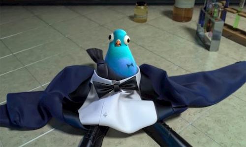 pigeon on tuxedo suit