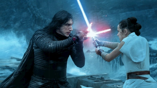 a woman and a man fighting with light sabers