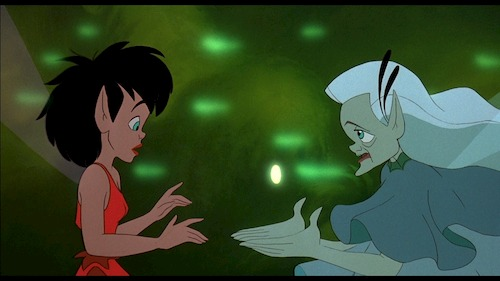 two animated fairies talking