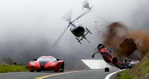 cars racing helicopter