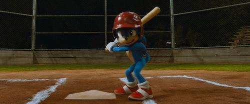 blue animated hedgehog playing baseball