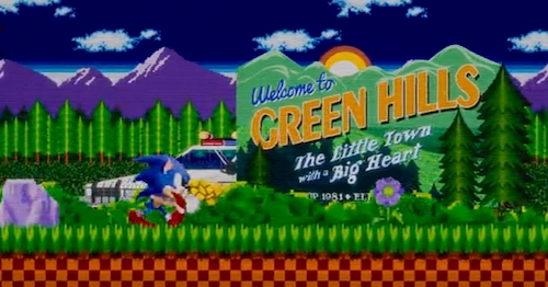 16 bit hedgehog running in grass with mountains in background
