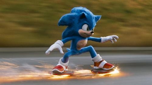 blue hedgehog skating with sparks
