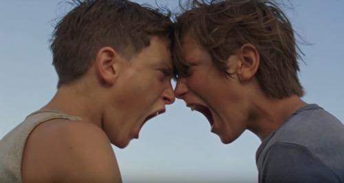 two boys screaming