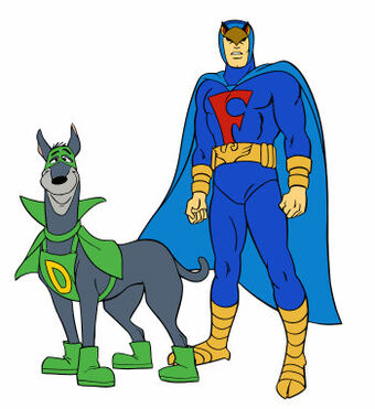 gray and green dog and man in blue superhero suit