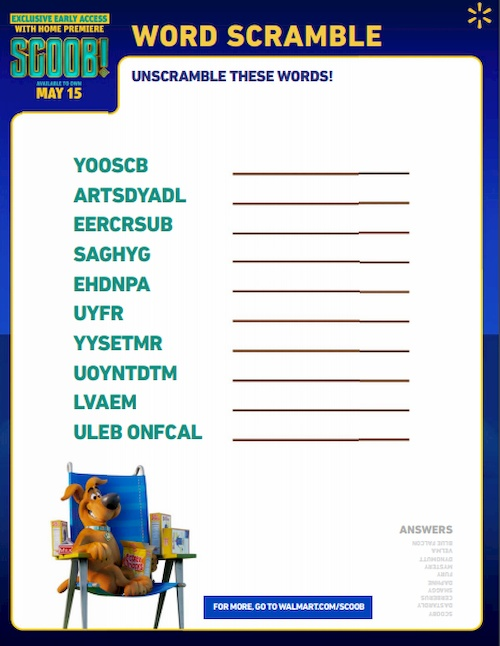 list of words scramble puzzle