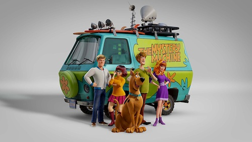 Scoob and gang in front of colorful van