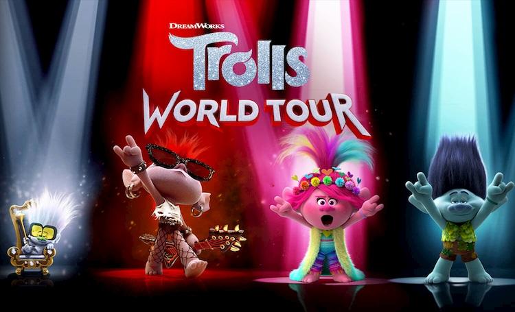 Trolls performing on stage