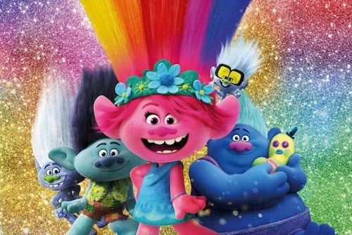 group of colorful animated trolls smiling