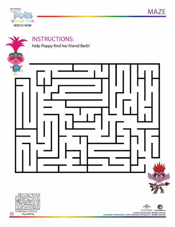Trolls World Tour Maze Activity