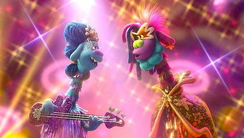 Two colorful trolls singing