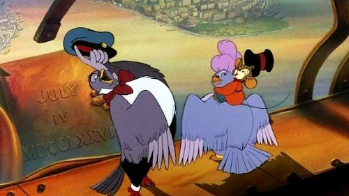 animated mouse and two birds laughing