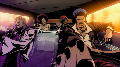 animated group of people driving in a car