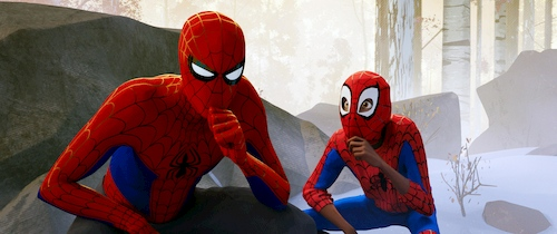 two people in spiderman costume sitting thinking