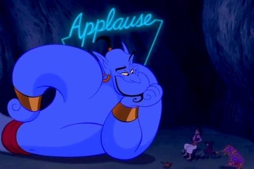 blue genie talking to small human