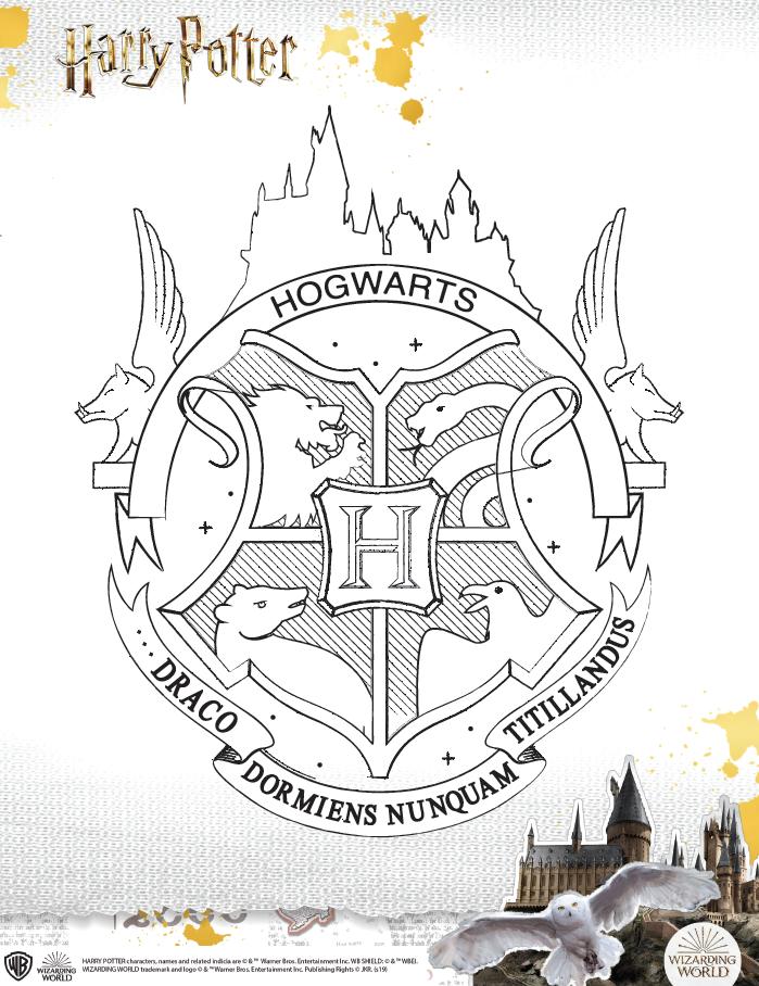 Hogwarts house crest coloring sheet