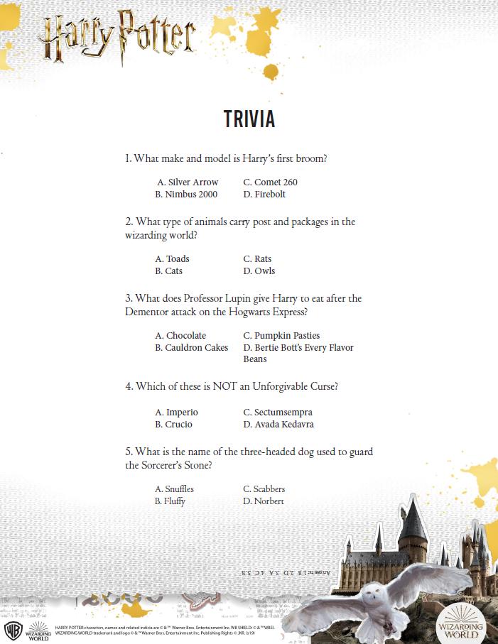 Harry Potter trivia sheet