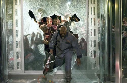 man running through window