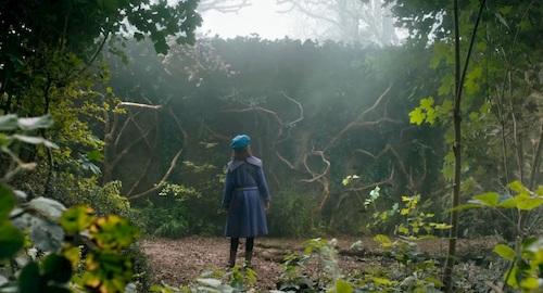 small girl standing in big garden