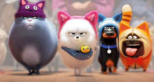 animated dogs and cat in costume