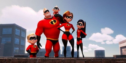 family standing in red superhero costumes