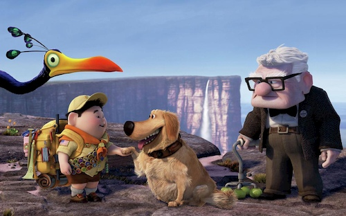 animated old man and young boy standing with dog and bird